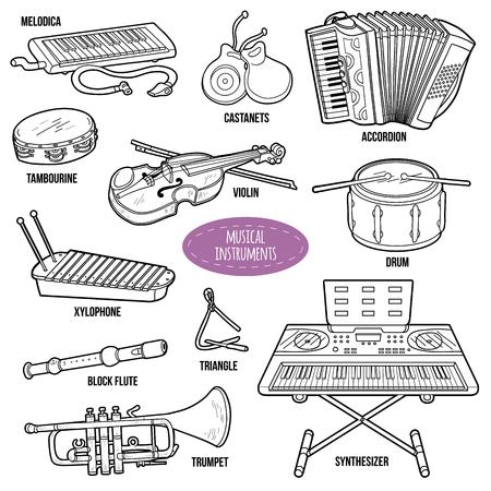 instrumentos musicales: Conjunto incoloro con instrumentos musicales, colección de dibujos animados de vectores para niños Vectores