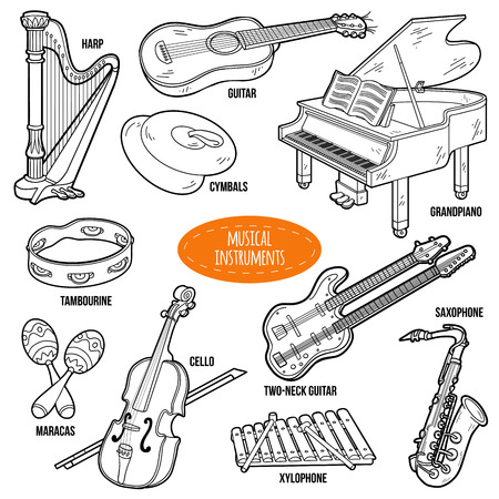 colorless: Colorless set with musical instruments, vector cartoon collection for children Illustration