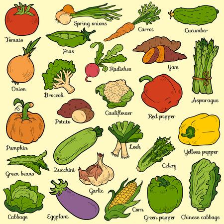 野菜セット、子供のための漫画のステッカーのベクトル