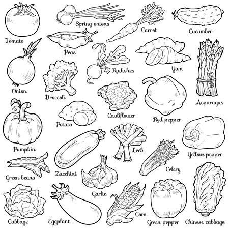 Colorless set with vegetables, vector cartoon stickers for children