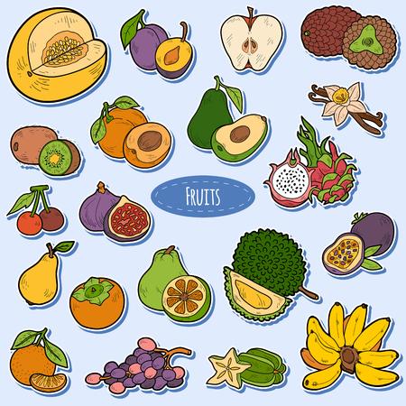 banana caricatura: Color fij� con frutas tropicales, pegatinas de dibujos animados de vectores para ni�os