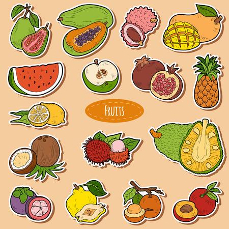 manzana caricatura: Color fijó con frutas tropicales, pegatinas de dibujos animados de vectores para niños