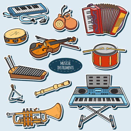 castanets: Color set with musical instruments, vector cartoon stickers for children Illustration