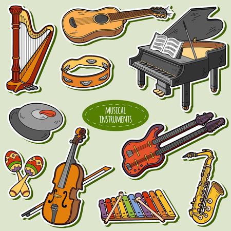 instrumentos musicales: Color fijó con instrumentos musicales, pegatinas de dibujos animados de vectores para niños