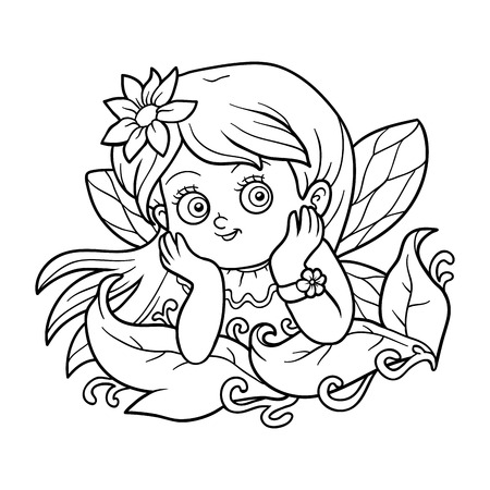 pixy: Coloring book for children: little fairy girl Illustration