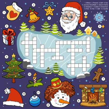 Vector kleur kruiswoordraadsel, onderwijs spel voor kinderen over Kerstmis