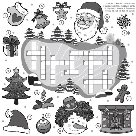 crossword puzzle: Vector colorless crossword, education game for children about Christmas