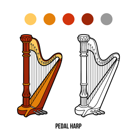Coloring book for children: music instruments (pedal harp) Vettoriali