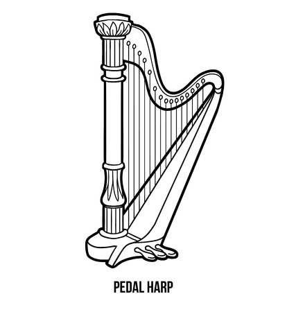 music book: Coloring book for children: music instruments (pedal harp) Illustration