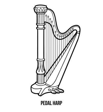 symphonic: Coloring book for children: music instruments (pedal harp) Illustration