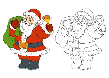 christmas winter: Coloring book, game for children: Santa Claus and bell Illustration