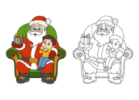 children santa claus: Coloring book, game for children: Santa Claus gives a gift a little boy