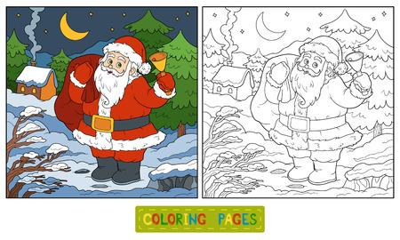 children santa claus: Coloring book, game for children: Santa Claus and night forest Illustration