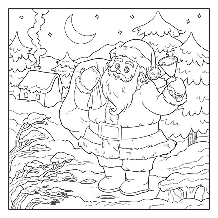 traditional christmas: Coloring book, game for children: Santa Claus and night forest Illustration