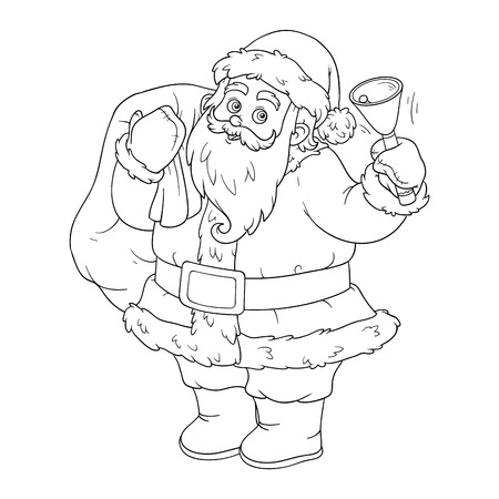 children santa claus: Coloring book, game for children: Santa Claus and bell Illustration
