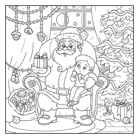 Coloring book, game for children: Santa Claus gives a gift a little boy