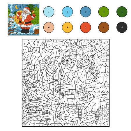 nombres: Couleur par des nombres, jeux pour les enfants: le Père Noël et la cloche