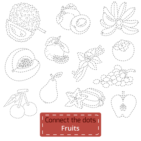Connect the dots (tropical fruits set), education game for children