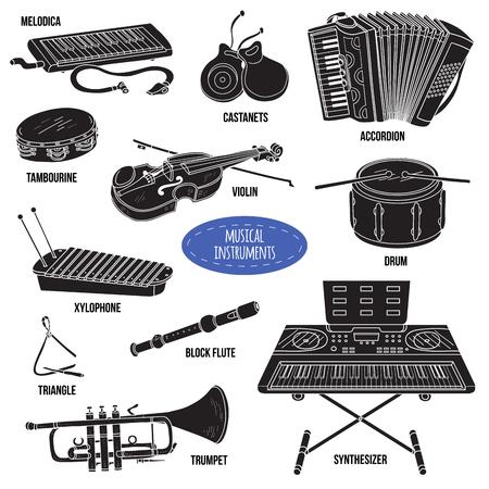 instruments de musique: Ombre définir des instruments de musique, collection de bande dessinée de vecteur pour les enfants