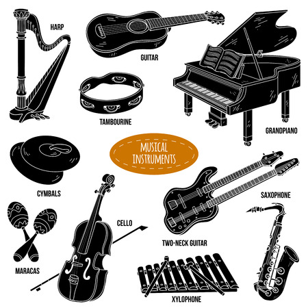 shadows: Shadow set with musical instruments, vector cartoon collection for children