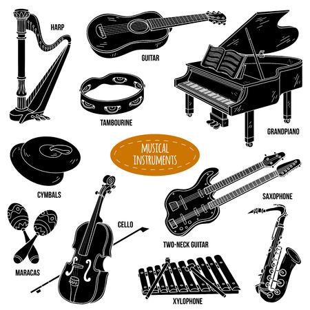 instrumentos musicales: Sombra conjunto con instrumentos musicales, colección de dibujos animados de vectores para niños