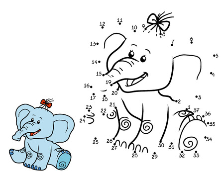 children education: Numbers game for children, education game: elephant