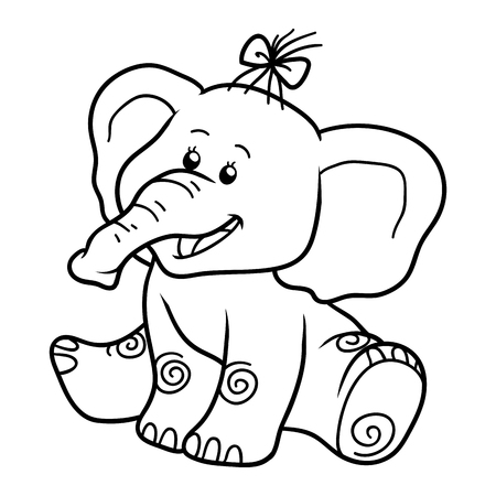 young animal: Coloring book for children, education game: elephant