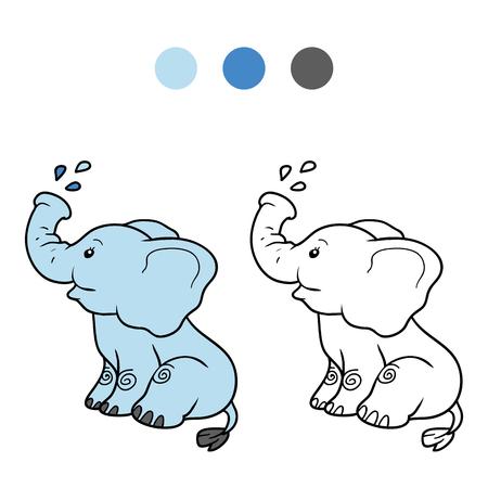 教育ゲーム子供のための塗り絵: 象