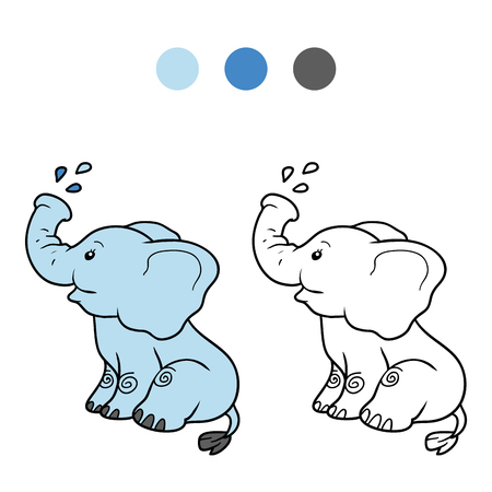 Coloring book for children, education game: elephant