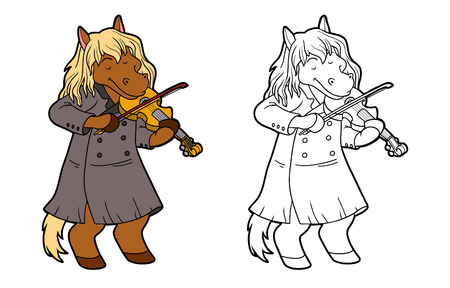 violin: Coloring book for children: music band (horse and violin) Illustration