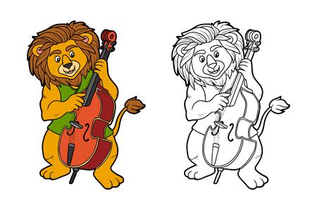 leon bebe: Libro para colorear para ni�os: Banda de m�sica (le�n y violonchelo) Vectores