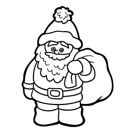 children education: Coloring book for children, education game: Santa Claus