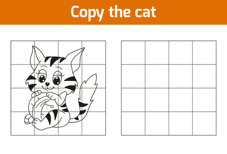 tiger page: Copy the picture, education game: cat