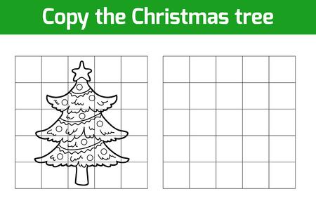 Copiar la imagen, juego de la educación: el árbol de Navidad Ilustración de vector