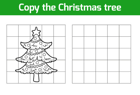 christmas graphic: Copy the picture, education game: Christmas tree