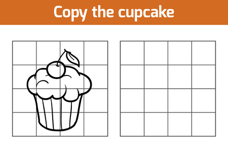 picture: Copy the picture, education game: cupcake