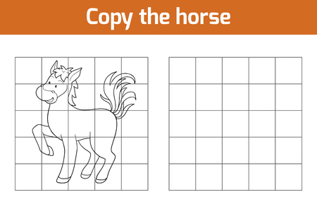 domestic animals: Copy the picture, education game: horse