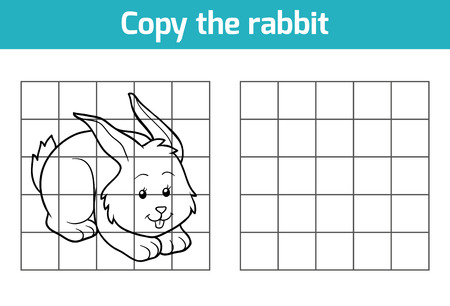 farm animals: Copy the picture, education game: rabbit Illustration