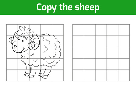 black sheep: Copy the picture, education game: sheep
