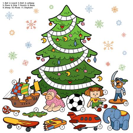 pelota caricatura: crucigrama vector, juego de la educaci�n para los ni�os sobre los regalos de Navidad
