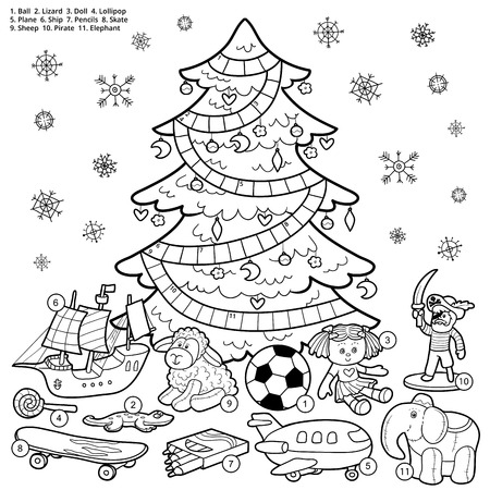 colorless: Vector crossword puzzle, education game for children about Christmas presents Illustration