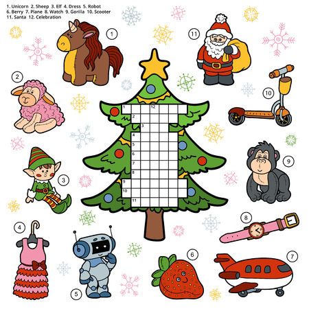 a word: Vector crossword, education game for children about Christmas presents and gifts