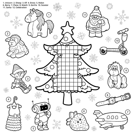 colorless: Vector crossword, education game for children about Christmas presents and gifts