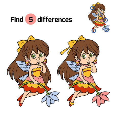 faery: Find differences, education game for children: little fairy
