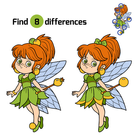 find solution: Find differences, education game for children: little fairy