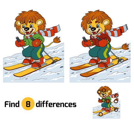 zoo cartoon: Find differences game, education game: little lion skiing