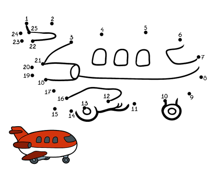 Numbers game, education game for children: airplane Ilustracja