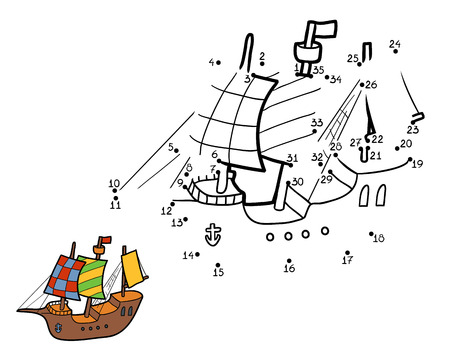 Numbers game for children, education game: ship