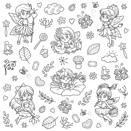 flower meadow: Vector colorless set about little fairies, cartoon collection Illustration