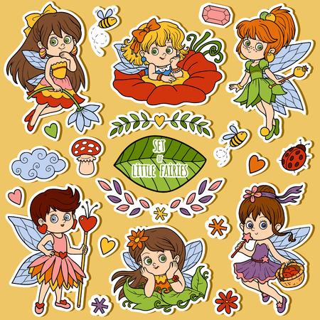 sticker: Vector color set about little fairies, cartoon collection